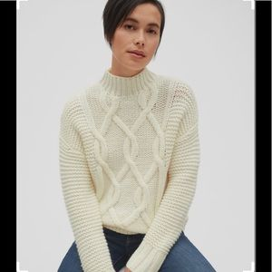 Textured Cable-Knit Mockneck Pullover Sweater
